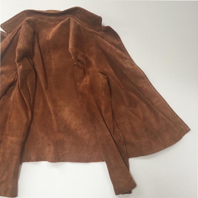 Brandon Thomas Suede Soft Western Contrast Brown Leather Jacket Image 9