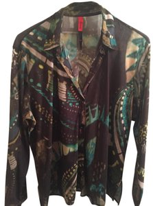 BLANQUE Top BROWN, TURQUOISE, GREEN PRINT