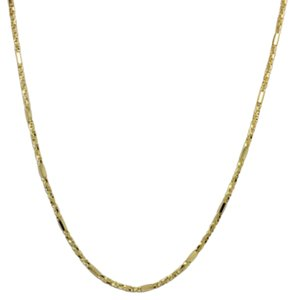 14K Solid Yellow Gold Twisted Box and Bar Chain 18 Inches