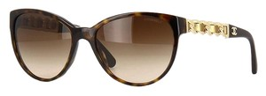 Chanel CHANEL Lambskin Leather Butterfly Chain Cat Eye 5215Q Sunglasses (Dark Tortoise)