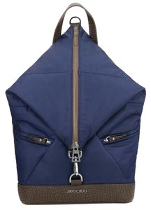 Jimmy Choo Leather Nylon Navy Brown Backpack