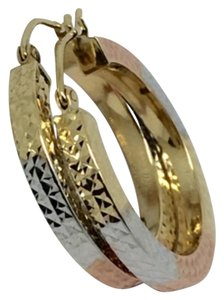 Other 14k Tri-Color Diamond Cut Hoop Earrings