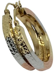 Other 14K Tri-Color Gold Diamond Cut Hoop Earrings