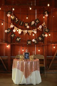 Rose Gold Sequin Sweetheart Tablecloth And Cream Colored Table Cloth