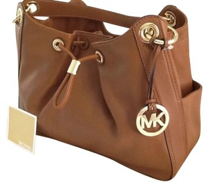 Michael Kors Ludlow Large Gold Tone Hardware Wallet Included Dual Leather Handles Satchel in Luggage