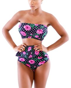 Other Pink Rose Polka Dot High Waisted Shorts Pinup Bikini Set