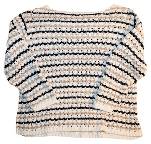Cable Knit White Black Sweater