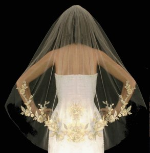 Fingertip Wedding Veil With Silver And Gold Embroidery