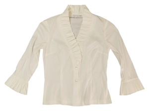 Trina Turk Ruffle Collar Top White