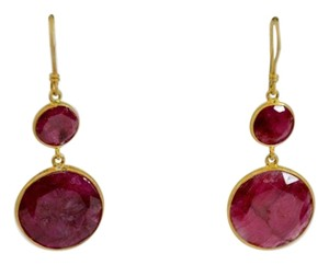 Other WOMEN'S YELLOW GOLD PLATED ROUND RED STONE DROP DANGLE EARRINGS