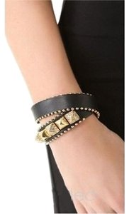 Juicy Couture Juicy Couture Bracelet Double Wrap Leather Studded Black Gold