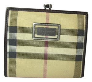 Burberry Khaki Nova Check & Brown Leather, Folding Wallet