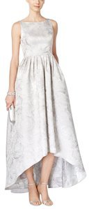 Adrianna Papell Silver Floral-jacquard High-low Gown Dress