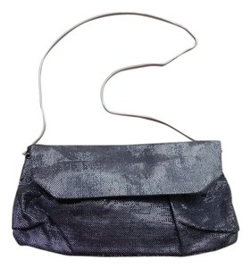 BCBGMAXAZRIA Night Out Date Night Metallic Sparkle Hardware Silver Clutch