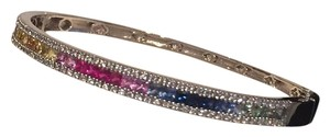 SOLID 14K MULTI-COLOR WHITE GOLD BANGLE
