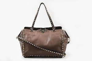 Valentino Leather Gold Rockstud Tote in Taupe