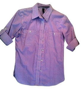 Ralph Lauren Button Down Shirt White and Pink Vertical Stripes