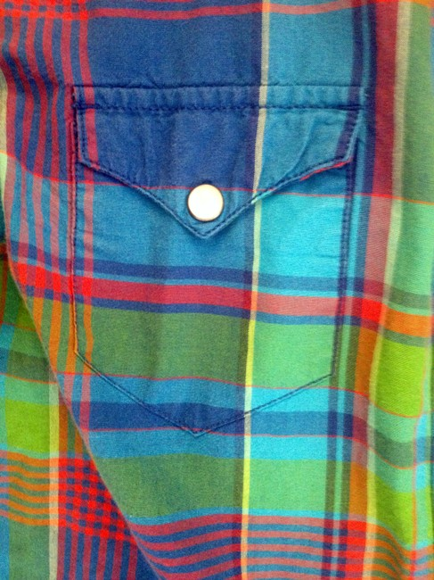 Ralph Lauren Casual Cotton Button Down Shirt Green, Blue, and Red Plaid