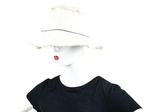 Annabel Ingall Annabel Ingall Beige Canvas Woven Frayed Beaded Trim Bucket Hat