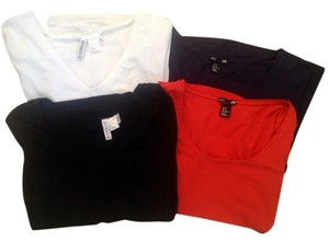 H&M Casual Cotton V-neck T Shirt Red, Black, Blue, and White