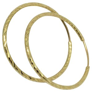 Other 14K Yellow Gold Pattern/ Diamond Cut Hoop Earrings