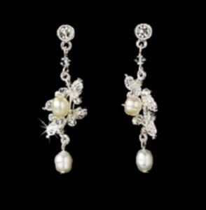 Elegance By Carbonneau Freshwater Pearl And Crystal Wedding Earrings