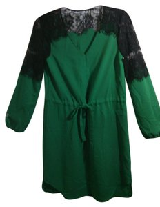 Green black Maxi Dress by C. Luce Chiffon Spring Summer Sheer Lace