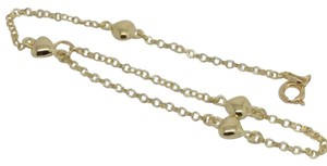 14K Yellow Gold Hearts Anklet