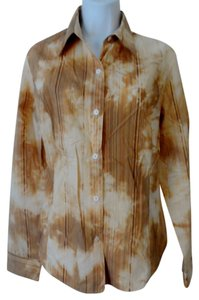 Ellen Tracy Button Up Abstract Pleated Button Down Shirt Gold
