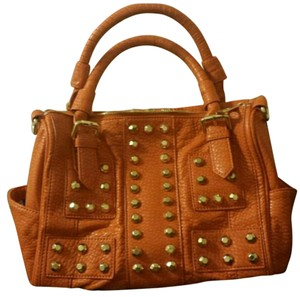 Gianni Bini Studded Pebbled Tote in Orange