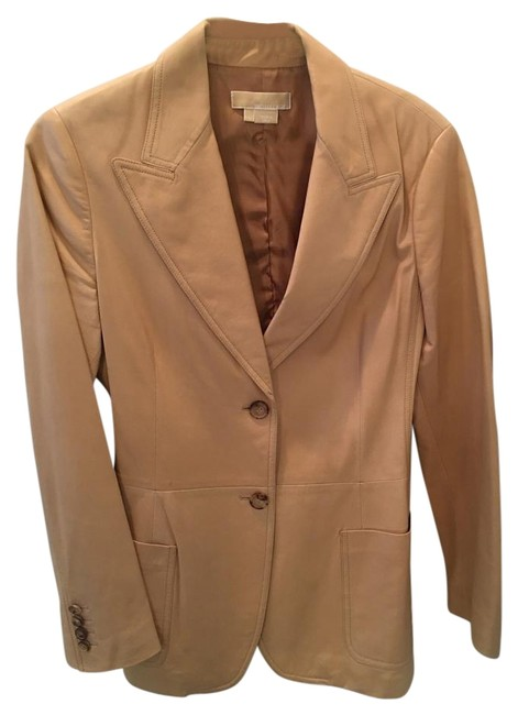 Preload https://img-static.tradesy.com/item/15217483/michael-kors-tan-leather-blazer-size-8-m-0-1-650-650.jpg