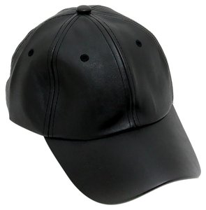 Modern Edge Black Faux Leather Baseball Cap