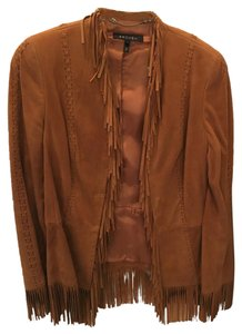 Escada Fringe Suede Blazer toffee/brown Leather Jacket
