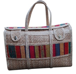 Other Mexican Duffle Jute Handcrafted Woven Storage Tan Travel Bag
