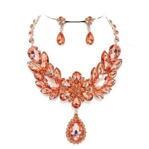 Other Rose Gold Peach Rhinestone Crystal Necklace And Earrings