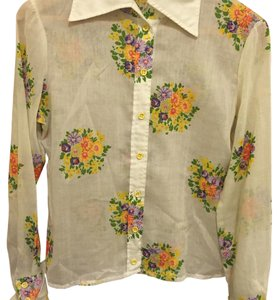 Button Down Shirt Beige yellow orange pink purple