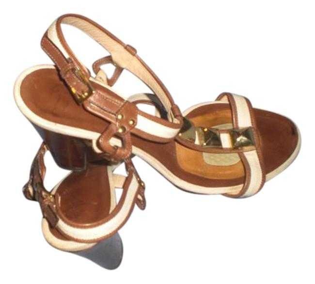 Giuseppe Zanotti Brown/Cream Brown/Cream Strappy Heels with Gold Works Sandals Size US 8.5 Regular (M, B) Giuseppe Zanotti Brown/Cream Brown/Cream Strappy Heels with Gold Works Sandals Size US 8.5 Regular (M, B) Image 1
