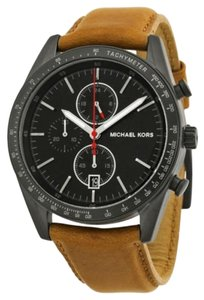 Michael Kors Michael Kors Accelerator Chronograph Black Dial Tan Leather Men's Watch 42mm MK8385