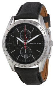 Michael Kors Michael Kors Accelerator Chronograph Black Dial Black Leather Men's Watch 42mm MK8384