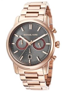 Michael Kors Michael Kors Pennant Chronograph Grey Dial Rose Gold Ion-plated Men's Watch 43mm MK8370