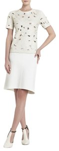BCBGMAXAZRIA Bcbg Cream Floral Leather Top French Cream