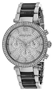 Michael Kors Michael Kors Parker Crystal Pave Dial Gray Acetate & Stainless Steel Chronograph Ladies Watch 39mm MK6284