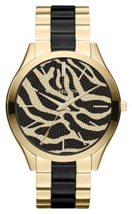 Michael Kors Michael Kors Slim Runway Black Acetate and Gold-Tone Zebra Pattern ladies Watch 42mm MK3315