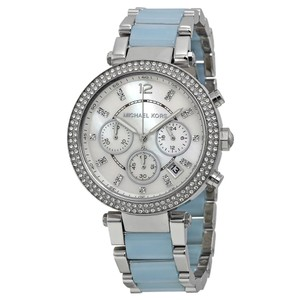 Michael Kors Michael Kors Parker Mother of Pearl Dial Stainless Steel and Chambray Acetate Ladies Watch 39mm MK6138