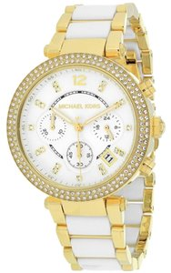 Michael Kors Michael Kors Parker Multi-function White Dial Gold-tone And White Acetate Ladies Watch 39mm MK6119