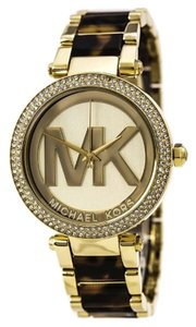 Michael Kors Michael Kors Parker Champagne Dial Gold-tone and Tortoise-shell Acetate Ladies Watch 39mm MK6109