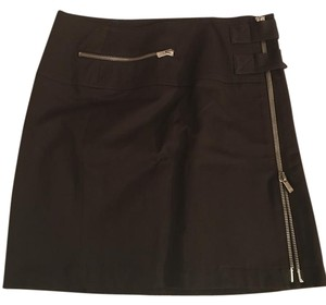 Michael Kors Brown Zippers Mini Skirt Dark Brown