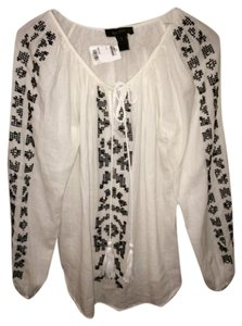 Karen Kane Boho Bohemian Summer Top Off-white