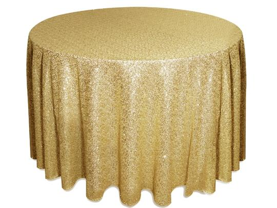 """One (1) 90 X 156"""" Rectangle And One (1) 120"""" Round Champagne Sequin Table Cloths"""
