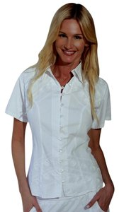 Lirome Embroidered Nautical Vacation Resort Top White